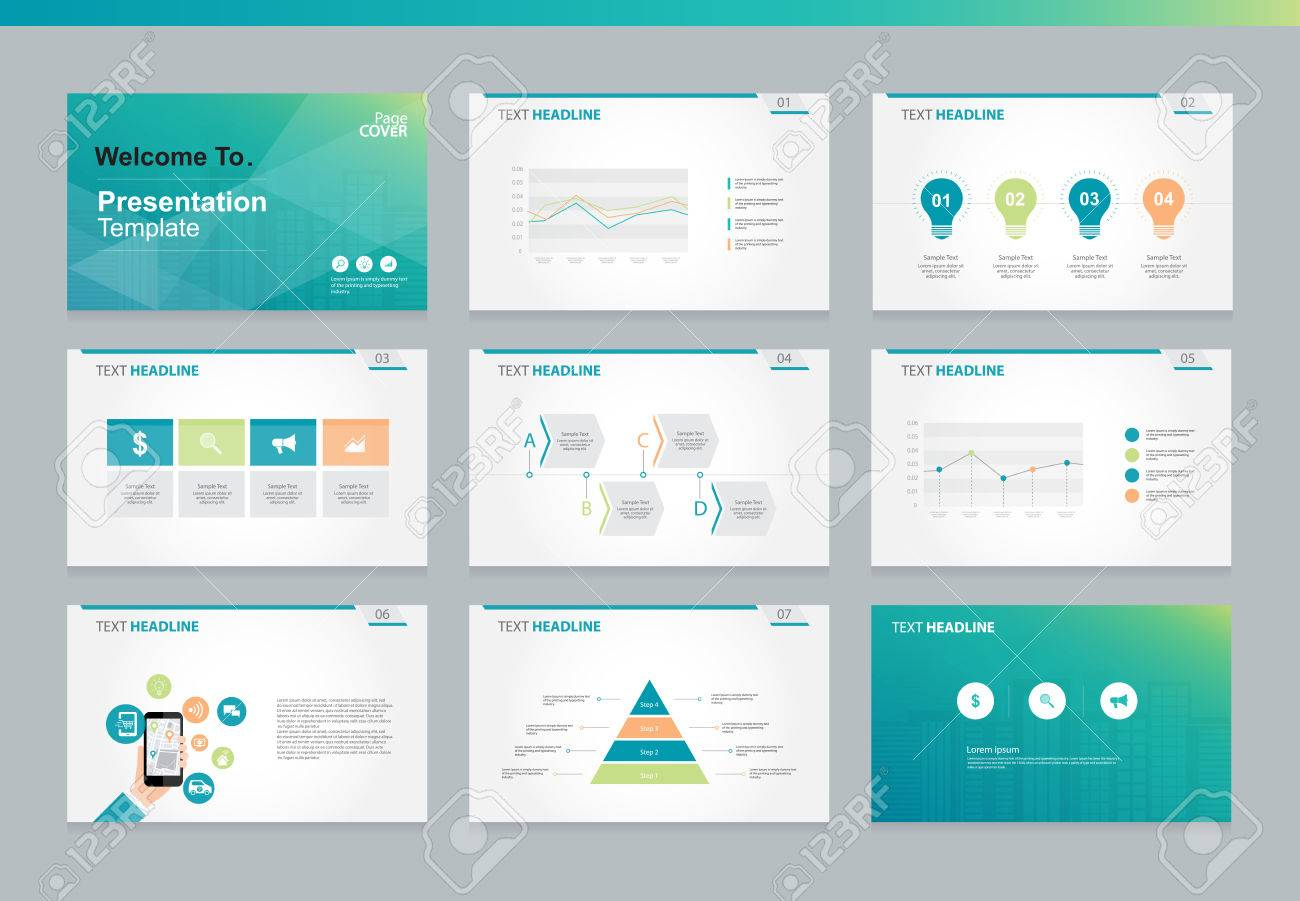 Page Layout Design Template For Business Presentation Page With Page Cover  Background Design And Infographic Elements