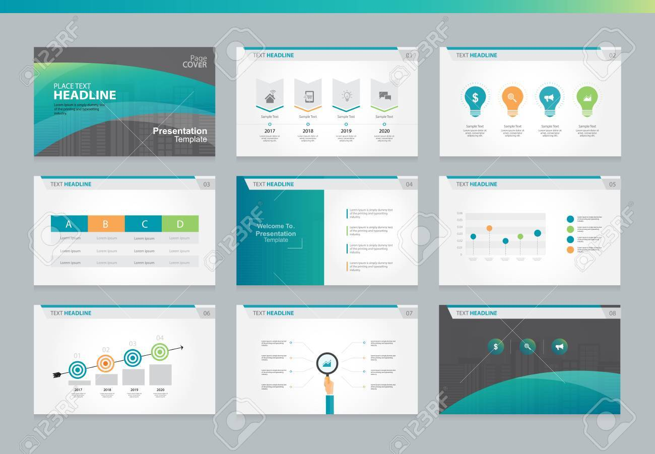 page layout design template for business presentation page with