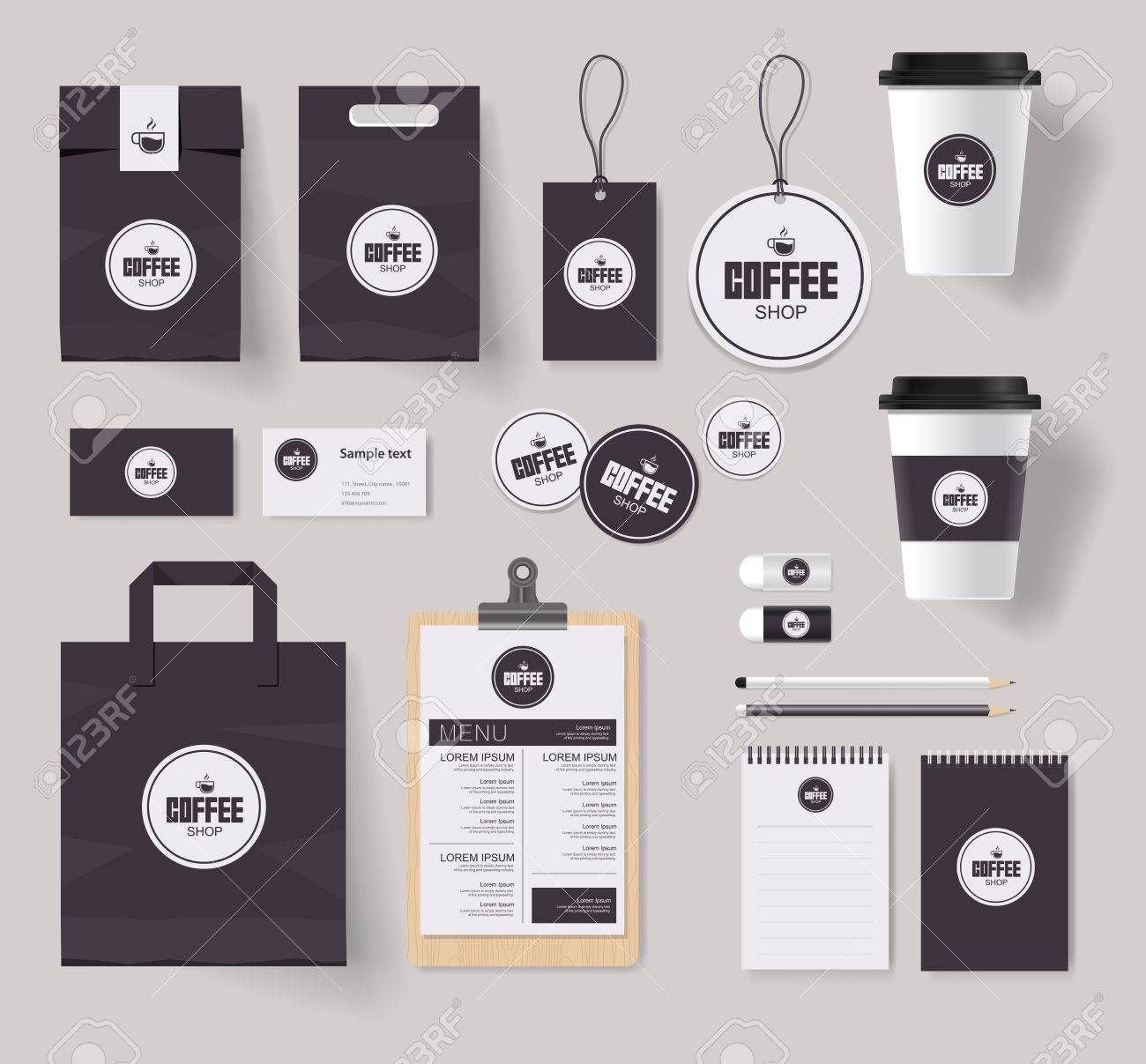 coffee shop and restaurant branding identity mock up template with coffee logo design stock vector
