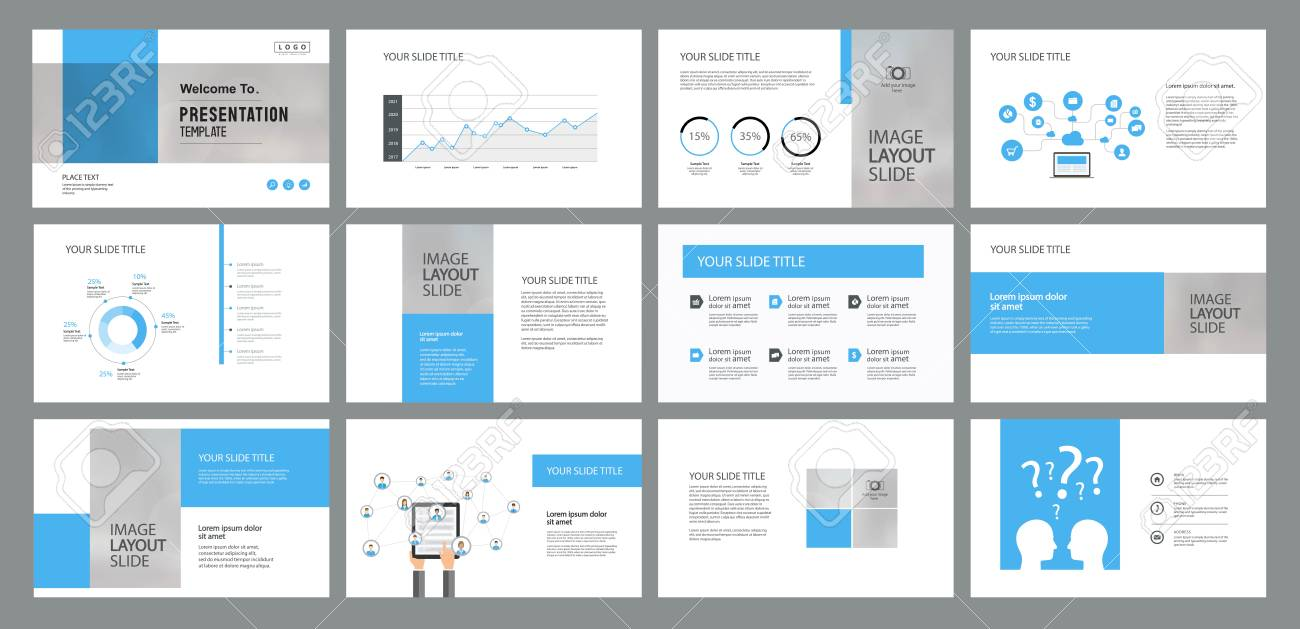 business presentation design template and page layout with cover