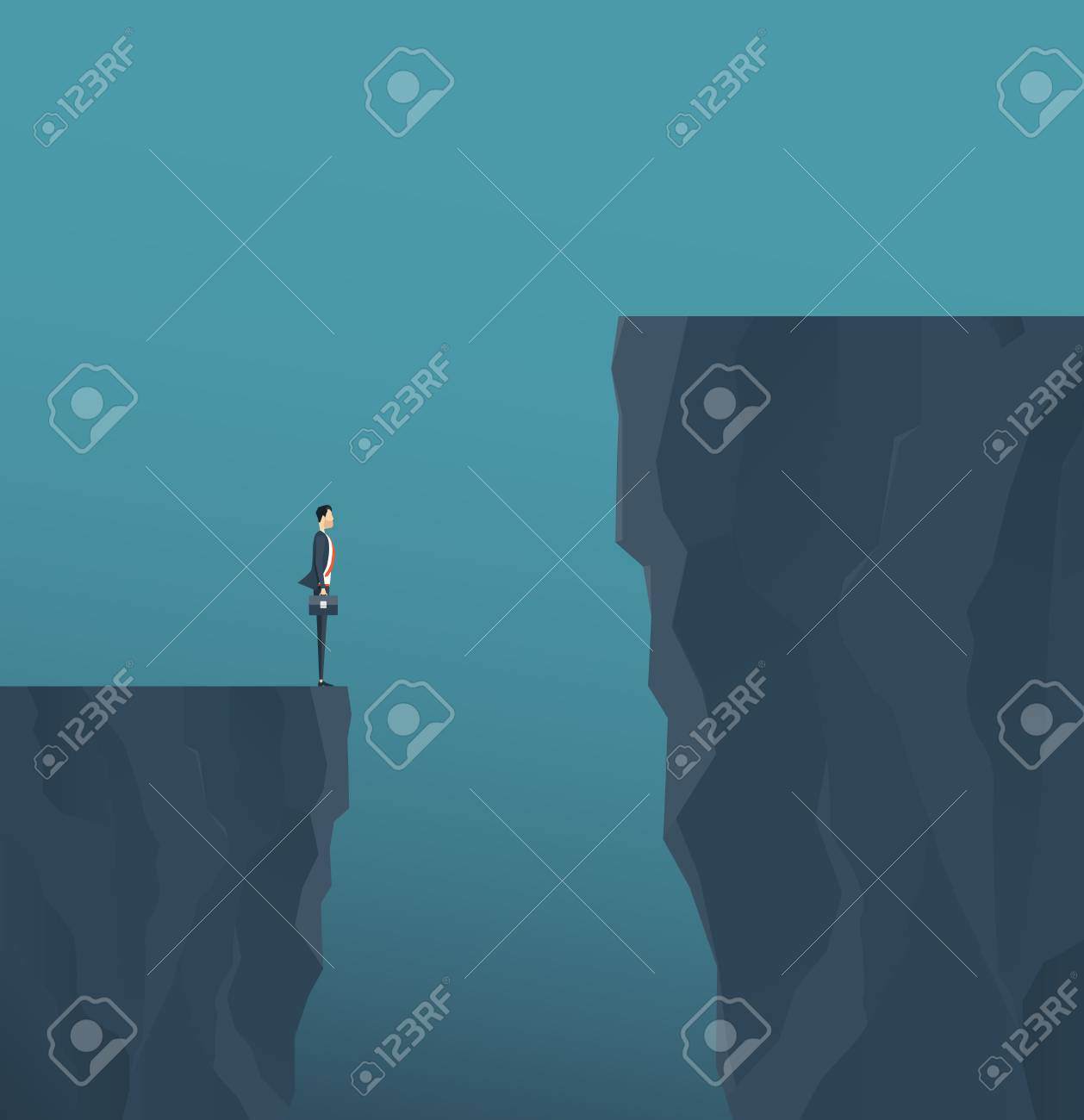 Flat vector concept businessman standing on mountain cliff, and business obstacle concept. - 95042602