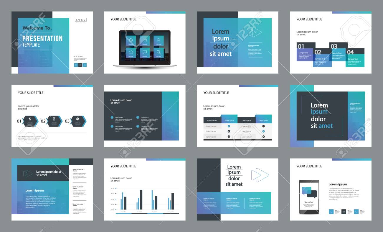 template presentation design and page layout design for brochure ,book , magazine,annual report and company profile , with infographic elements design - 100864379