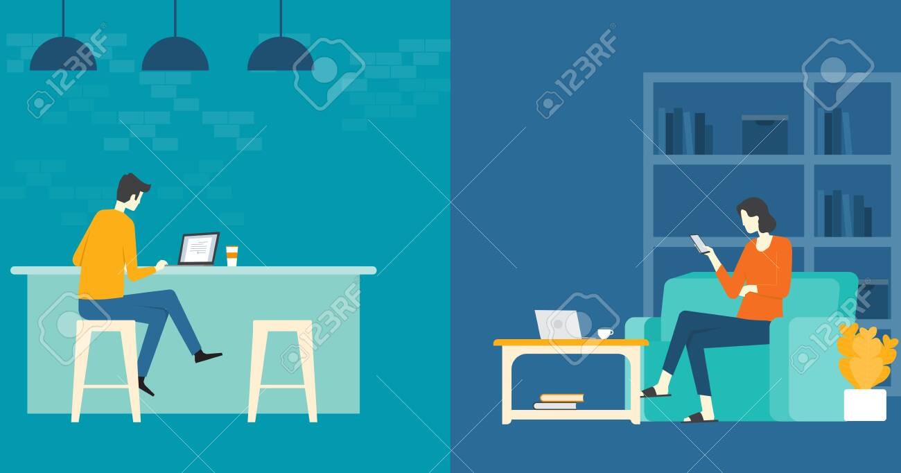 flat vector business smart working and working online any workplace concept - 126643045