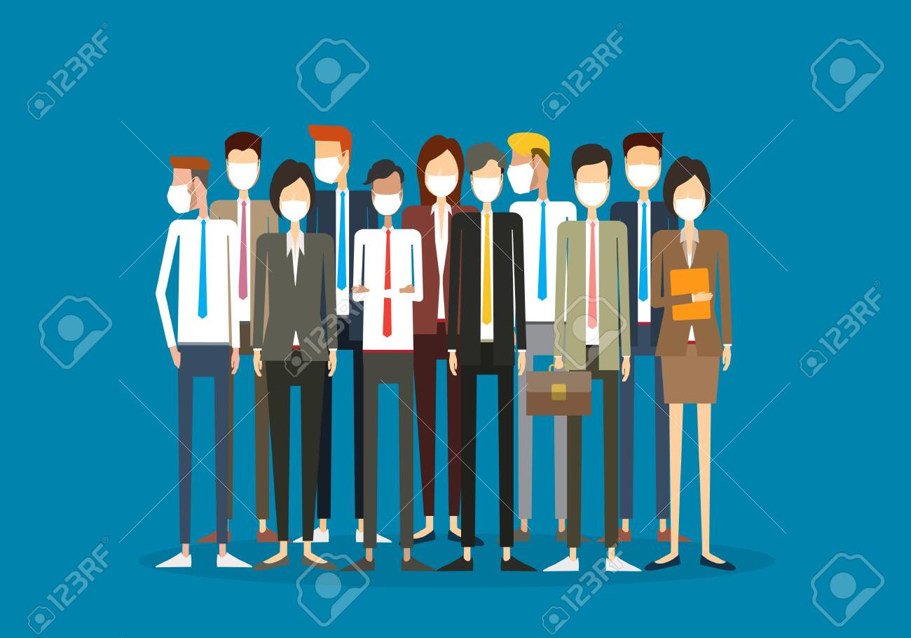 Flat illustration Group business team wearing face mask for virus protection concept - 144133368