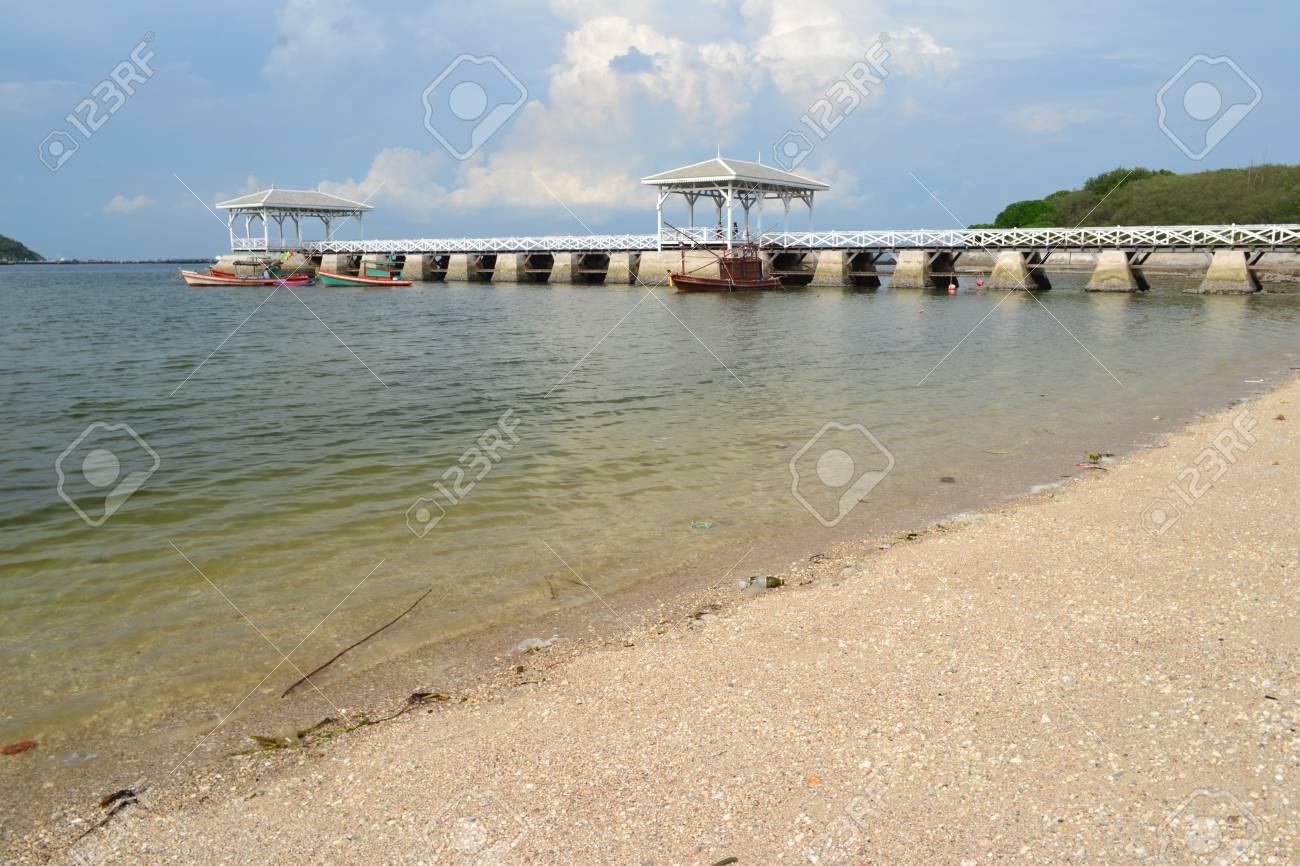 Beautiful wooden pier at Ko Si Chang  Si Chang  Island ,Sriracha,Chonburi Province,Thailand,Asia Stock Photo - 15662453