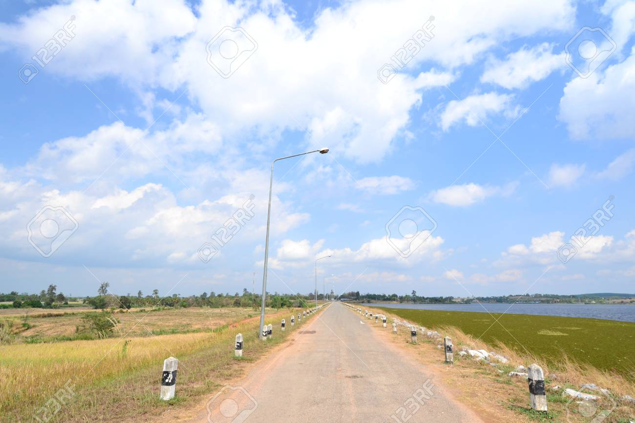 Empty road in Nakhon Ratchasima Province,Thailand. Stock Photo - 17660363