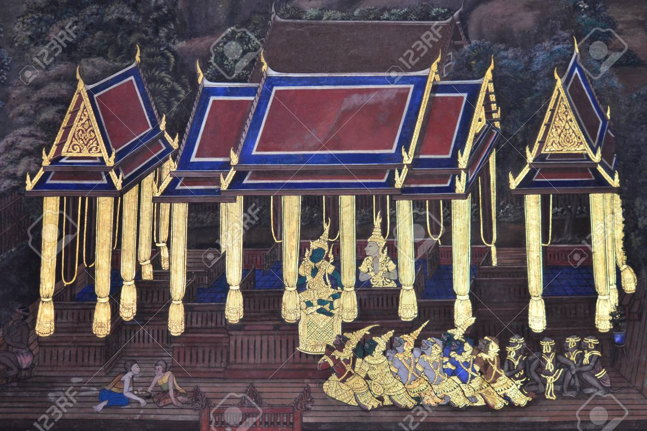 Thai Traditional Painting in Thai temple (Wat thai),Bangkok,Thailand,Asia Stock Photo - 17985921