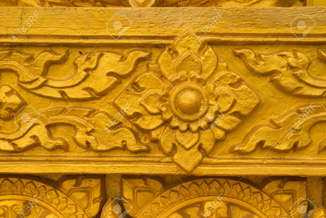 Wat Gold Color Wall Texture Background Stock Photo, Picture And ...