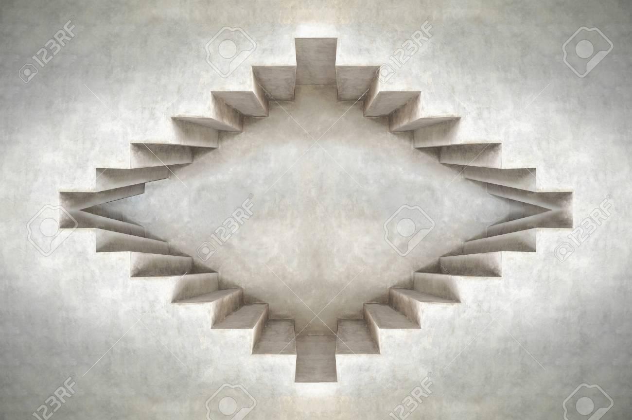 Fesselnd Abstraktes Augenkonzept Tiefe Der Dachbodenzement Gebäudeform Wanddesign  Standard Bild   73423793