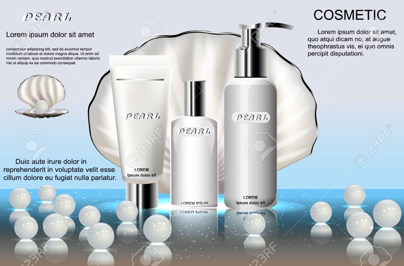 The series of cosmetic products for skin care, on the background of mother of pearl shell. Template for advertising, poster design. Stock Photo - 73548325