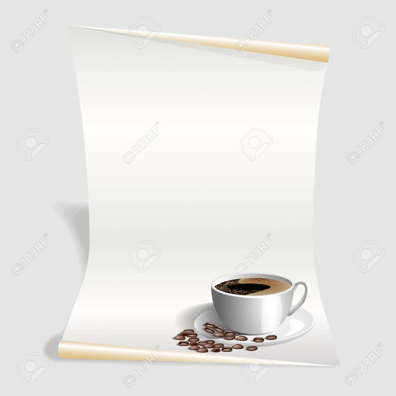 Blank Menü-Vorlage, Weiß Kaffee-Karte. Vektor-Illustration ...
