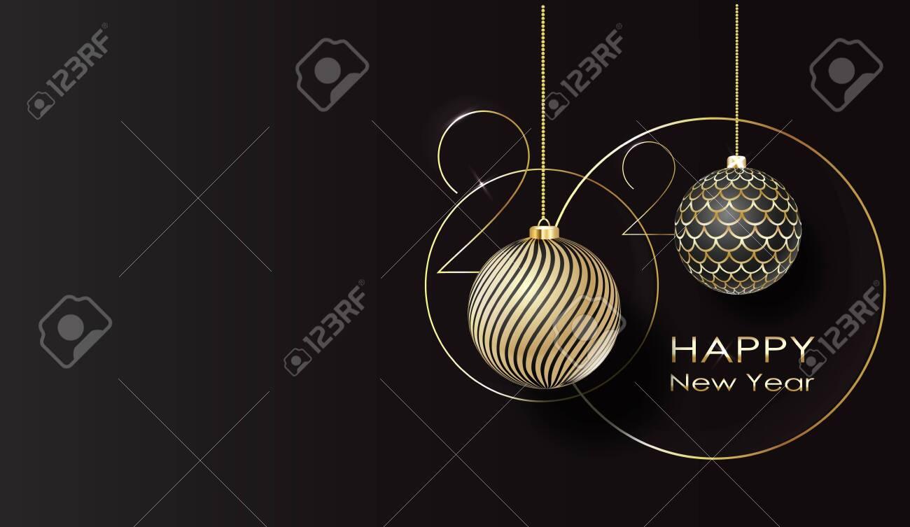 greeting card. Happy new year 2020 Golden balls. vector - 132553805