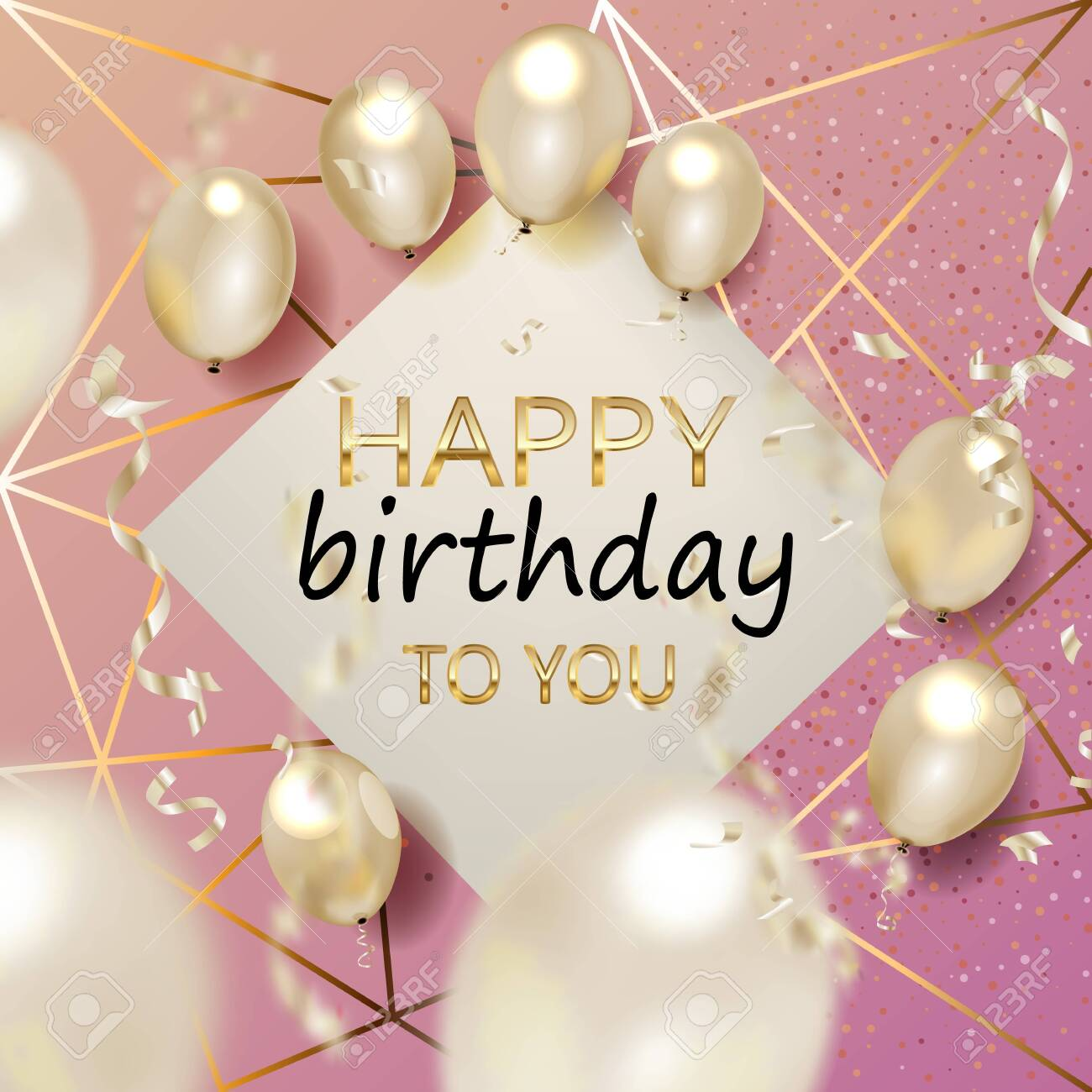 Birthday elegant greeting card with gold balloons and falling confetti Vector - 132553205