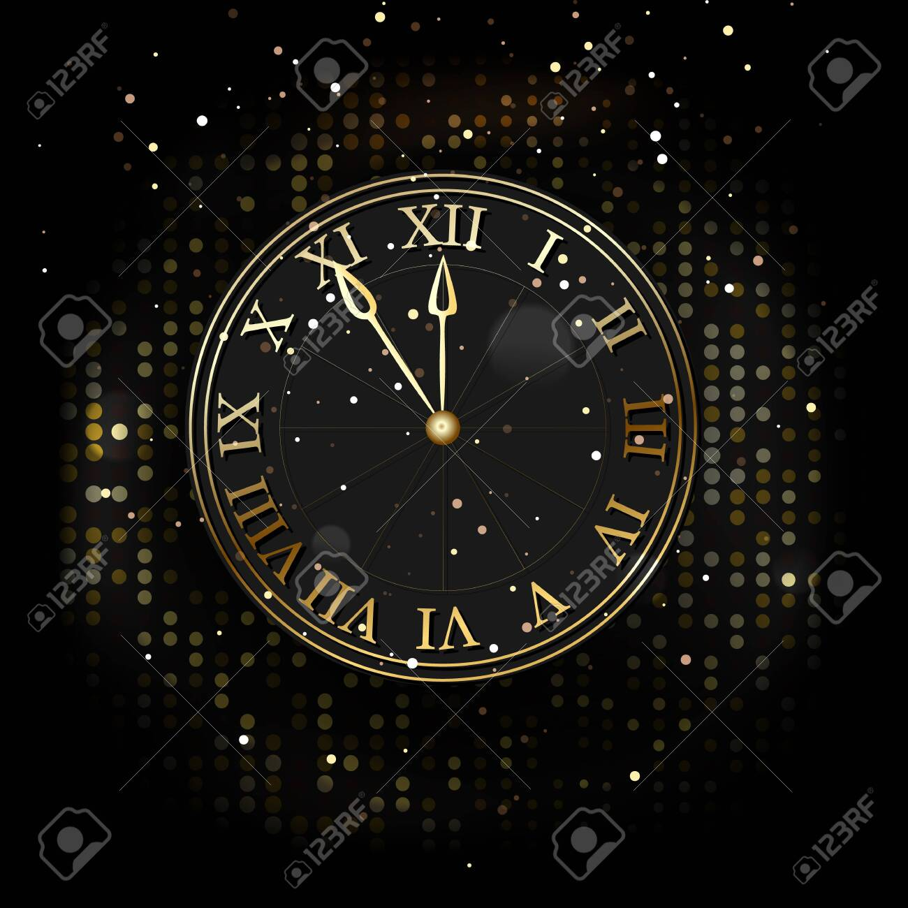 Watch the new year without five twelve, gold on a dark background of fashionable design. Vector - 136800974