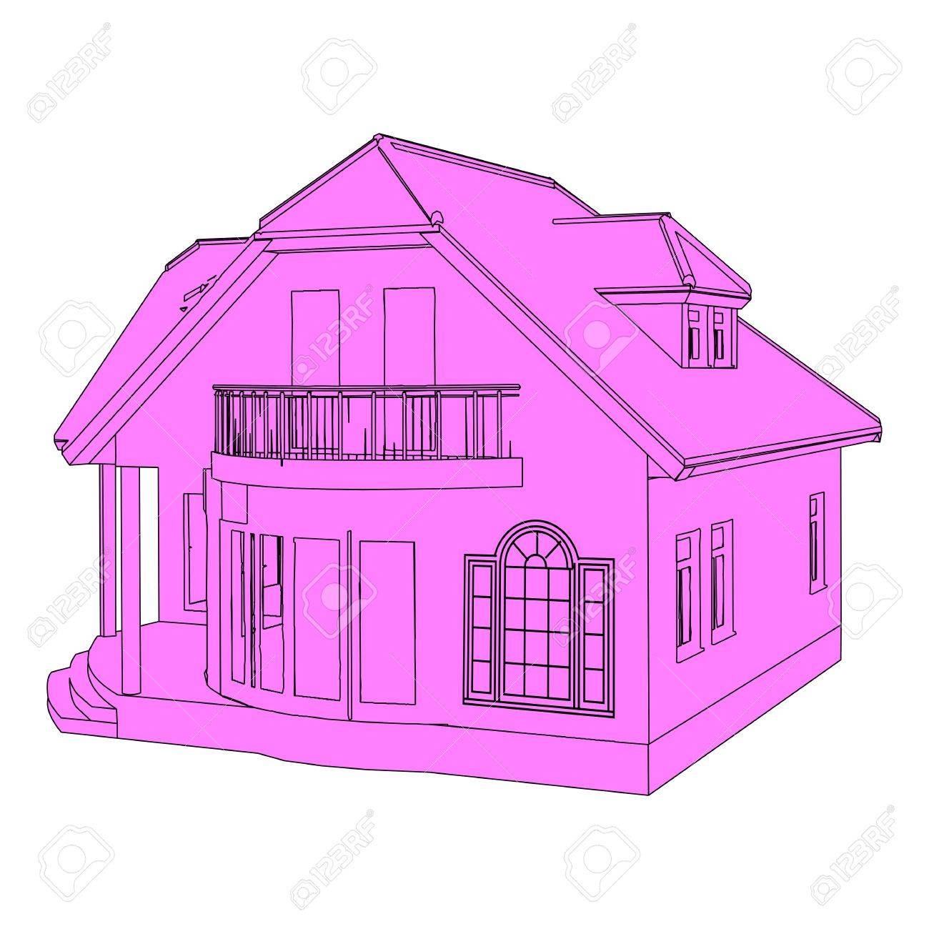 vector  drawing  house  Isometric Dream House Drawing