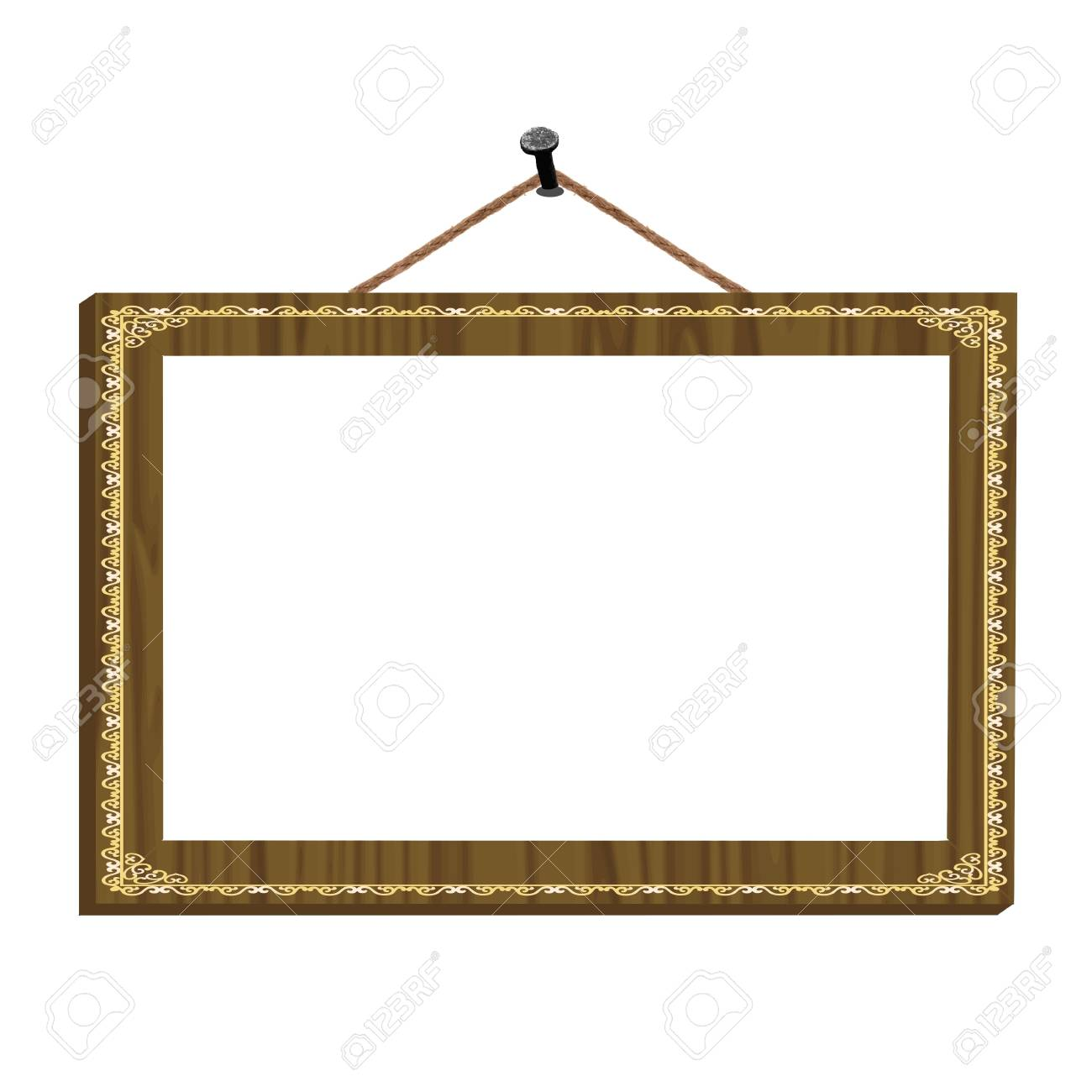 wooden frame with vintage ornament on the nail for image or text - vector Stock Vector - 13285795