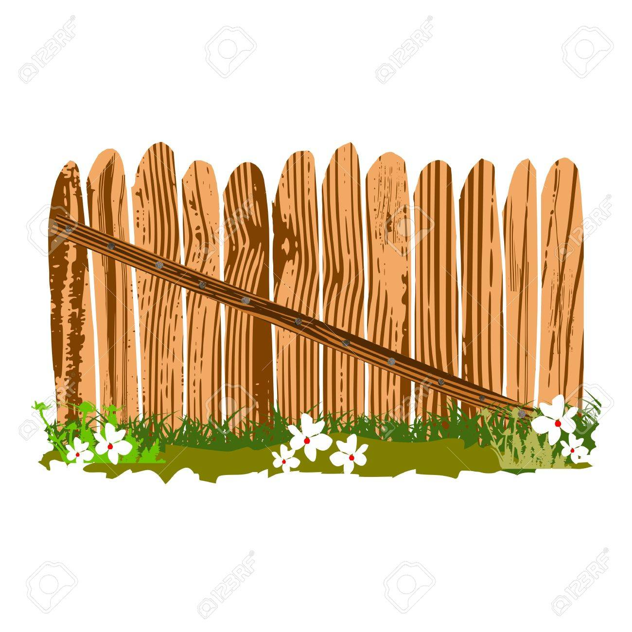 wooden fence with grass and flowers - vector Stock Vector - 13427405
