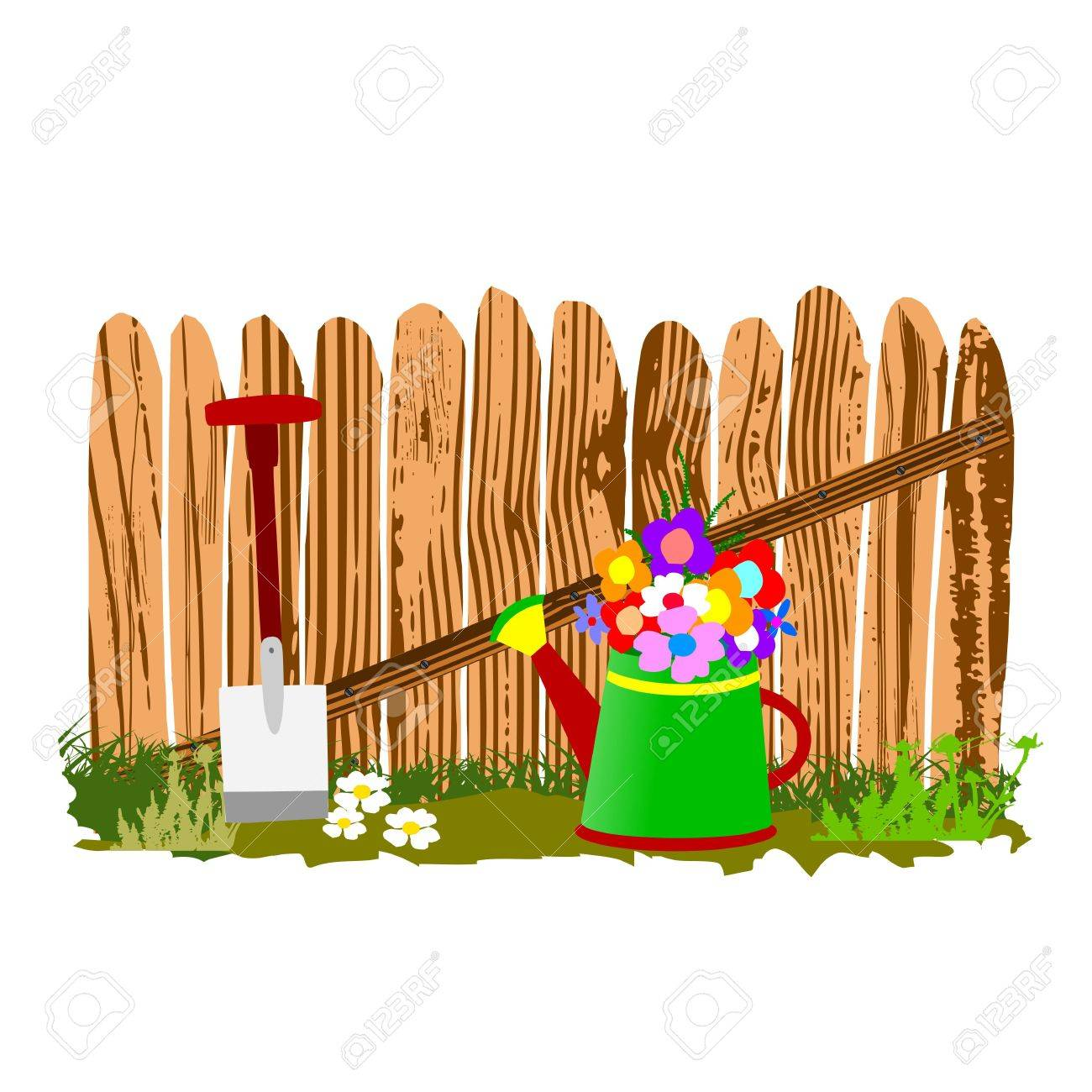wooden fence and watering can - vector Stock Vector - 13494389