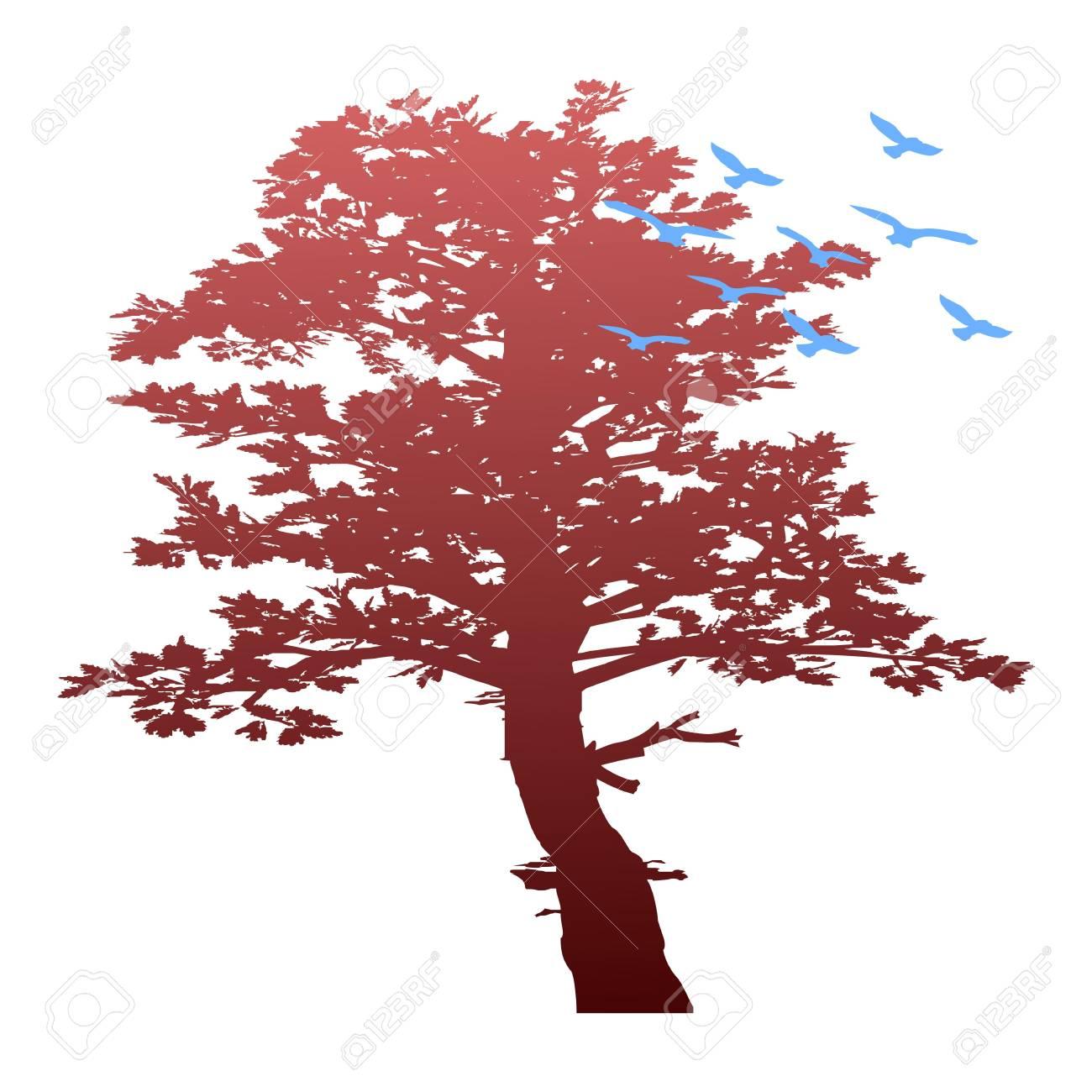 autumn tree and birds - vector Stock Vector - 13494386