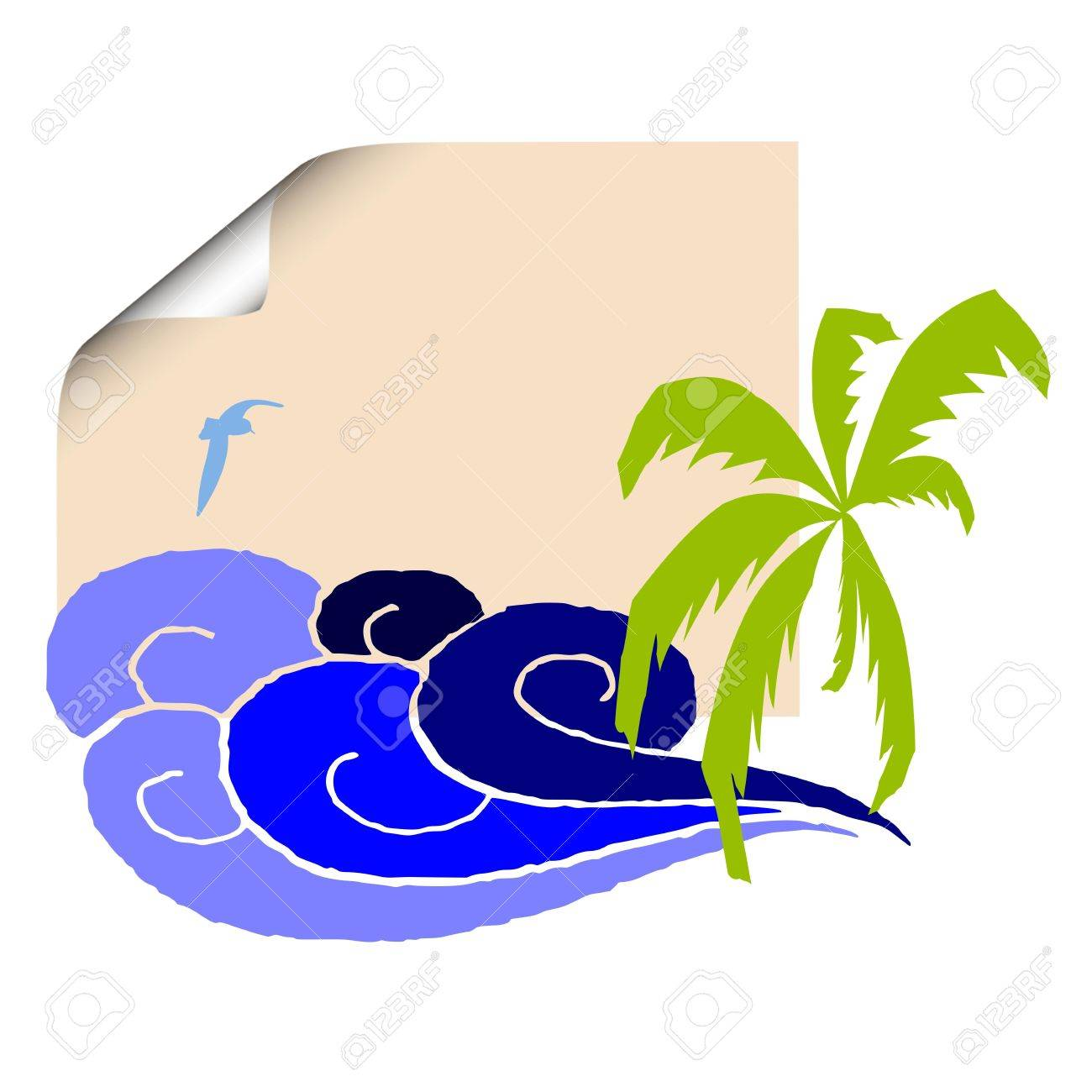 Blank paper, palm and surfing waves - vector Stock Vector - 13495071