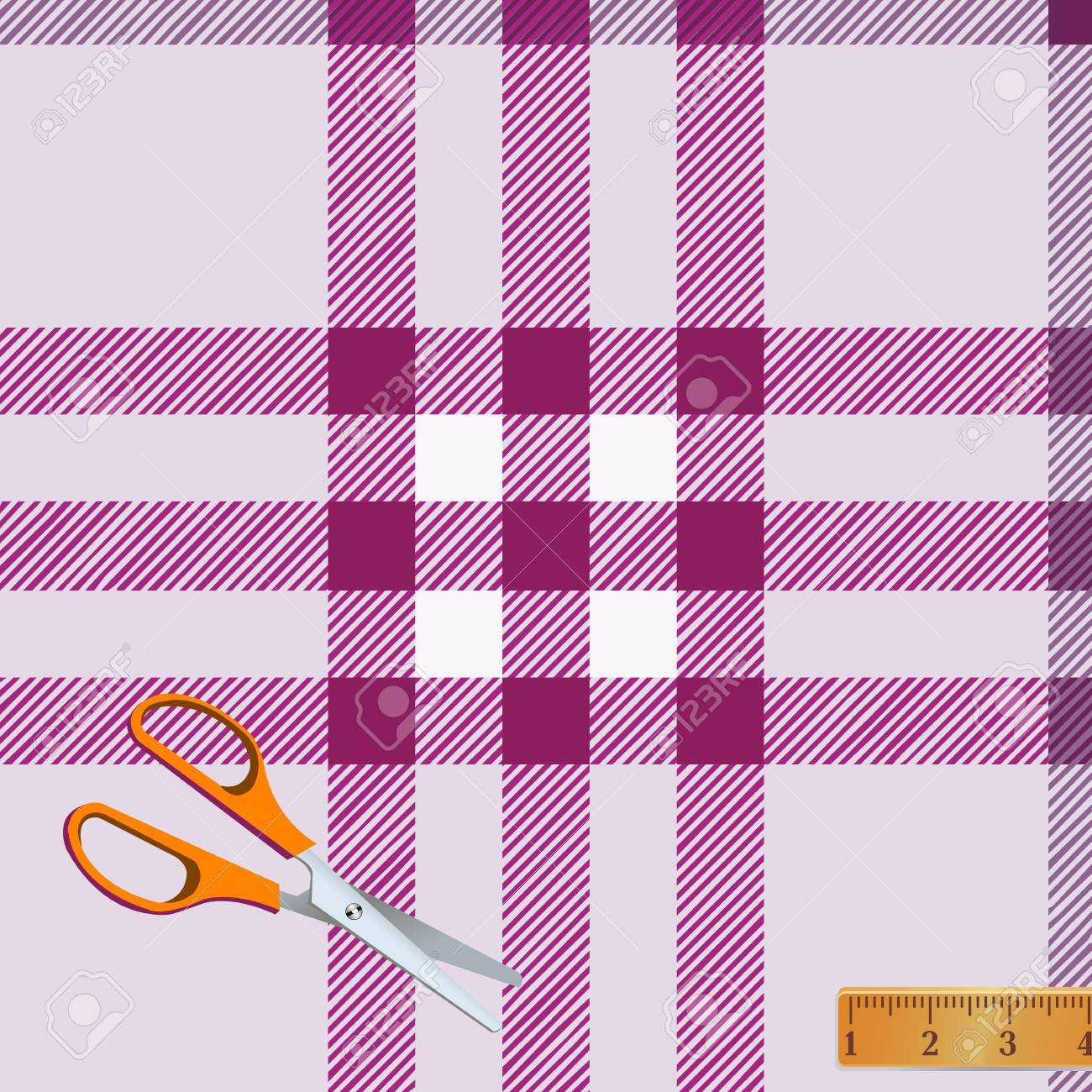 Tartan plaid fabric textile pattern and scissors, meter Stock Vector - 13763516