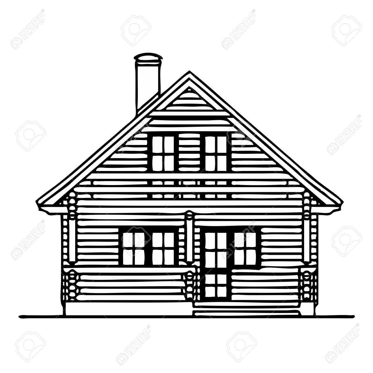 Cottage Clipart Black And White Wooden House Stock Vector 13767366