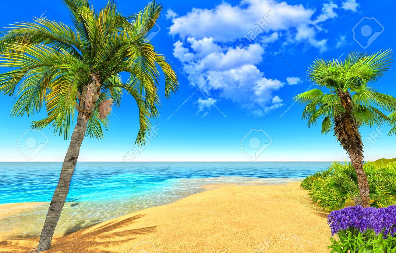 Beach, palms and flowers Stock Photo - 14324818