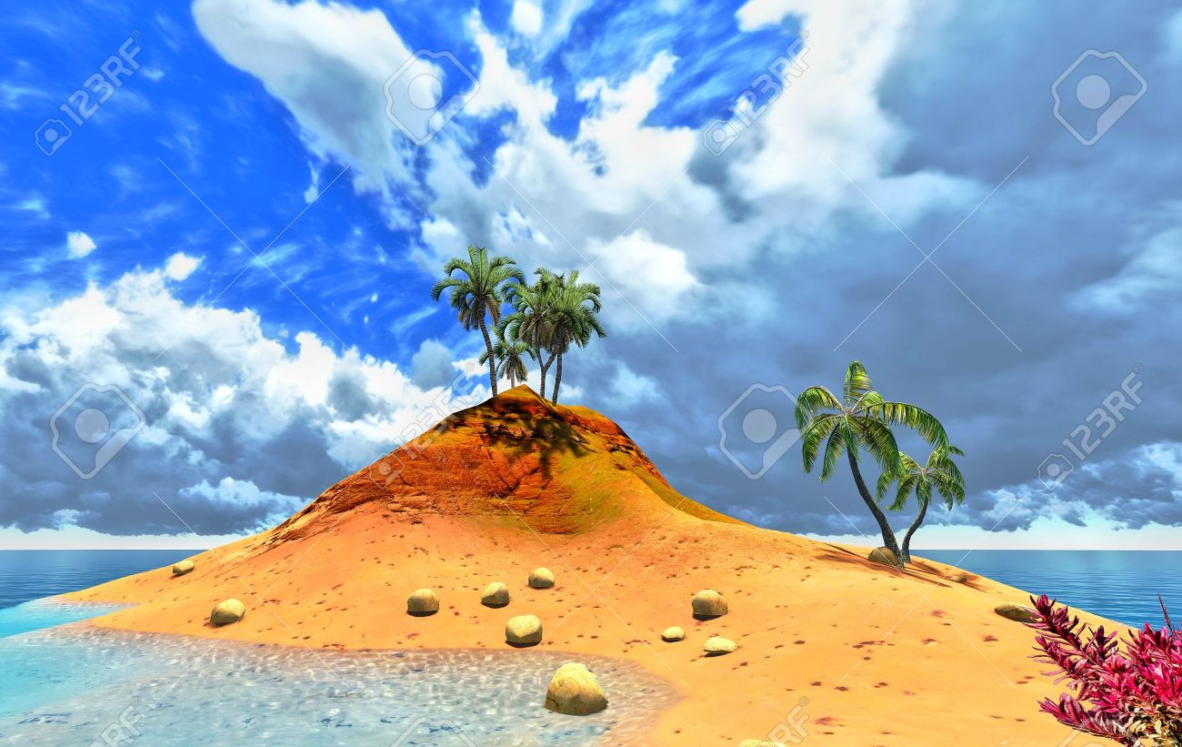 tropical island and palms Stock Photo - 14324725