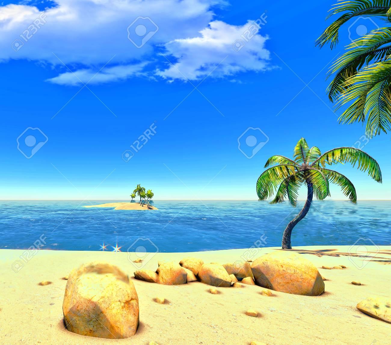 Beach, island and palms Stock Photo - 14324712