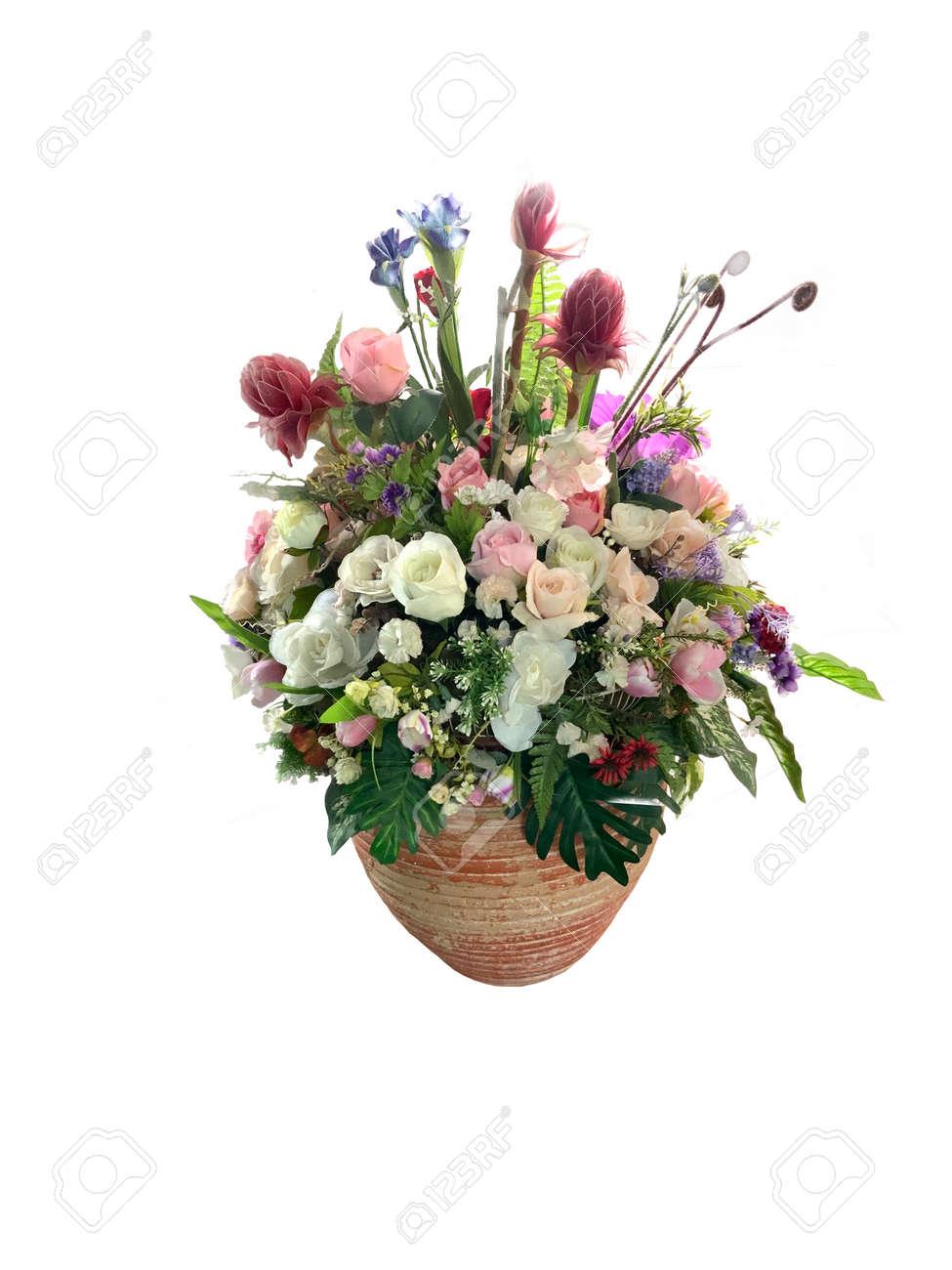 White, red and pink flowers in a vase isolated on a white background - 159269111