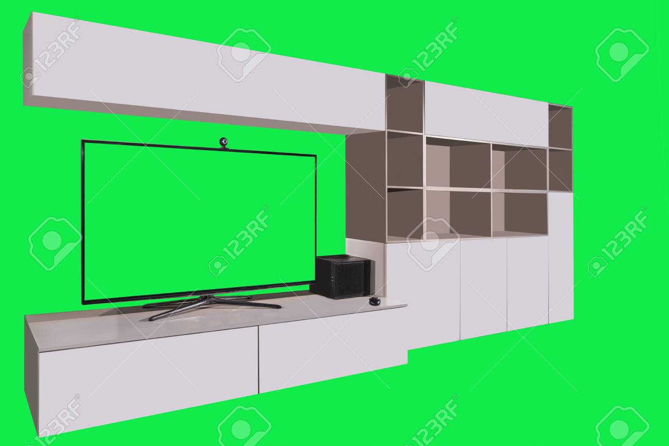 Living Room Furniture With Tv And Green Screen In Background Stock Photo Picture And Royalty Free Image Image 74998199