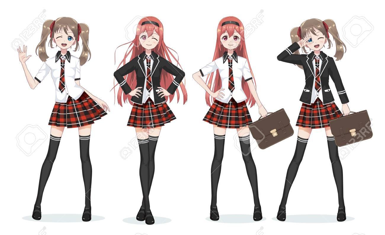 4c4e45045 Hermosa anime manga colegiala. Plaid falda roja y el patrón de corbata de  tartanes. Medias largas negras, mochila escolar en camisa y chaqueta. Todo  ...