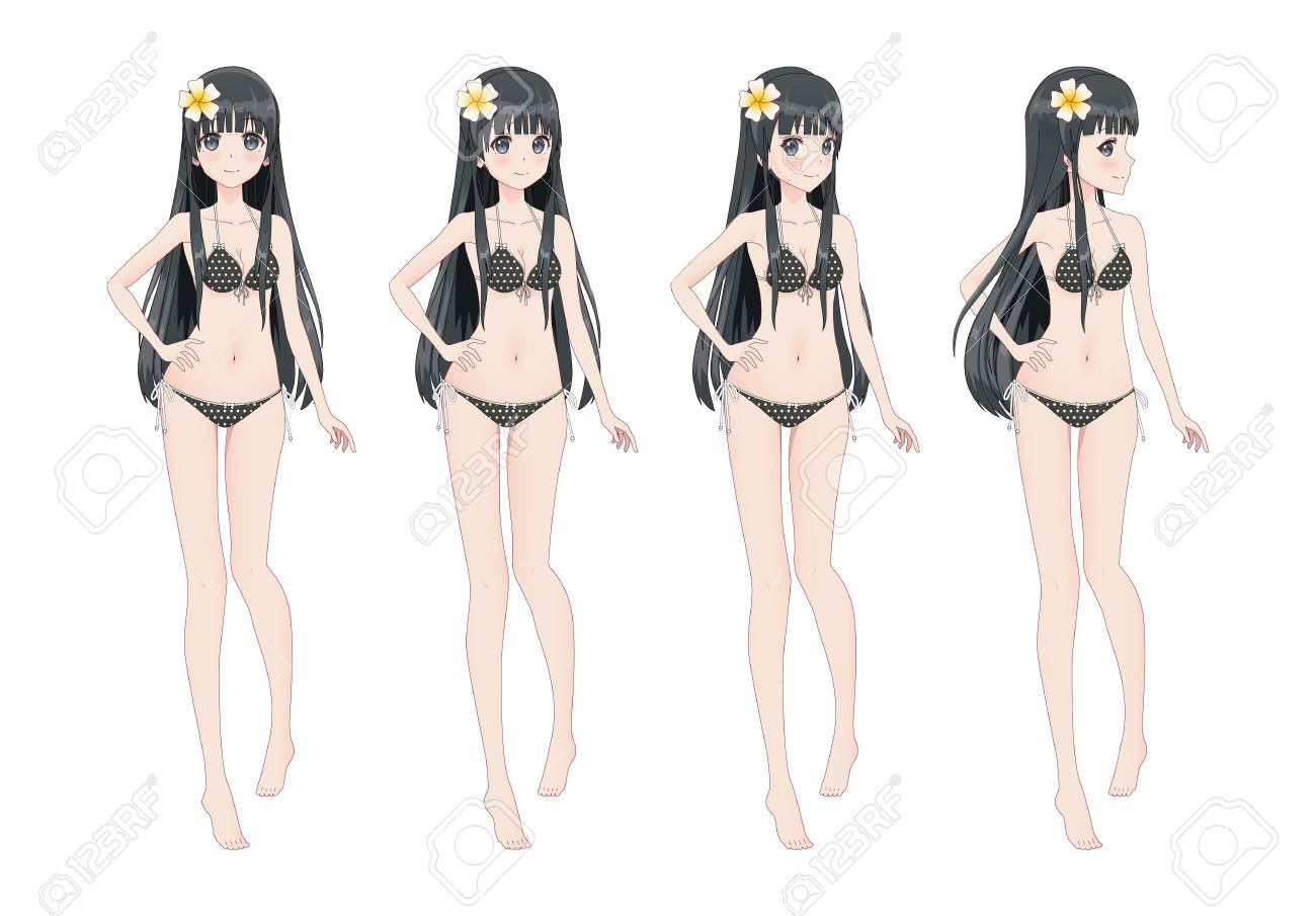 Beautiful anime manga girl in swimsuit bikini different postures and turns of the head stock