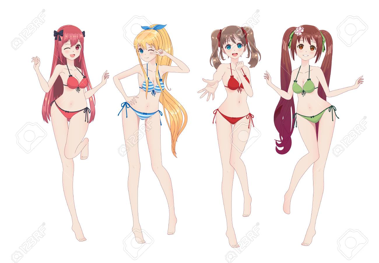 Group of beautiful anime manga girls in bikinis in different poses. Winks, smiles - 103284623