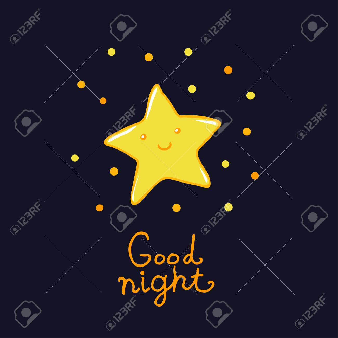 Good Night And Sweet Dreams Illustration Lovely Star For Your