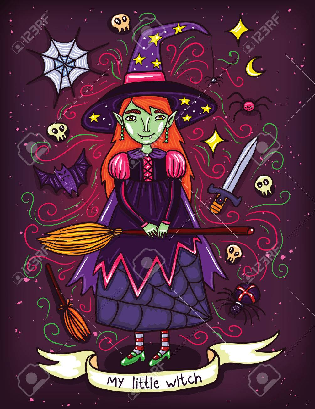 Cute little witch in purple dress. Illustration about witches holidays of or Helloween. Witchcraft everywhere. - 57607370