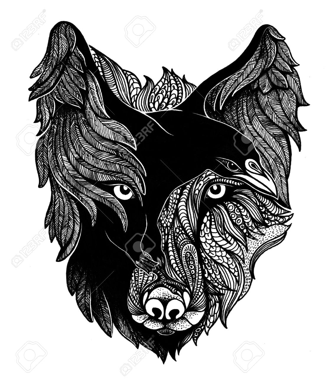Wolf and raven black and white art illustration. - 57607373