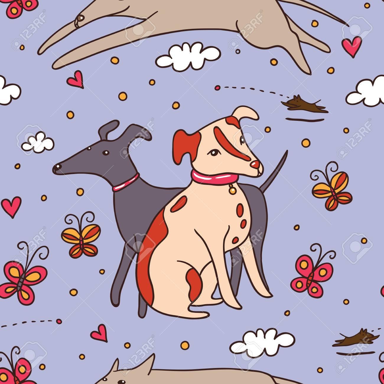 Linda De Los Perros Sin Patrón De Color Púrpura Ilustración Del Vector Con Los Animales