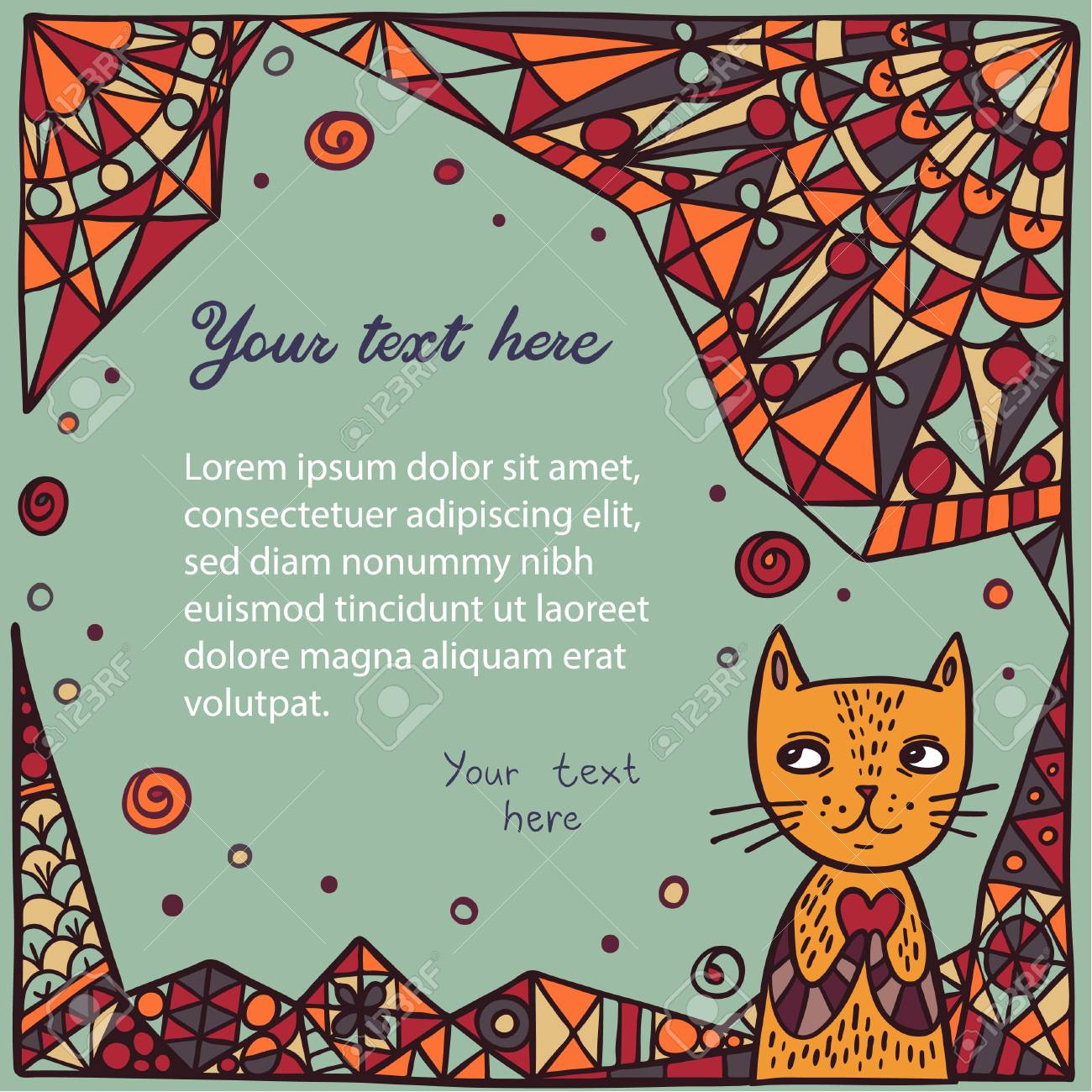 cute cat on abstract background. children's book page template
