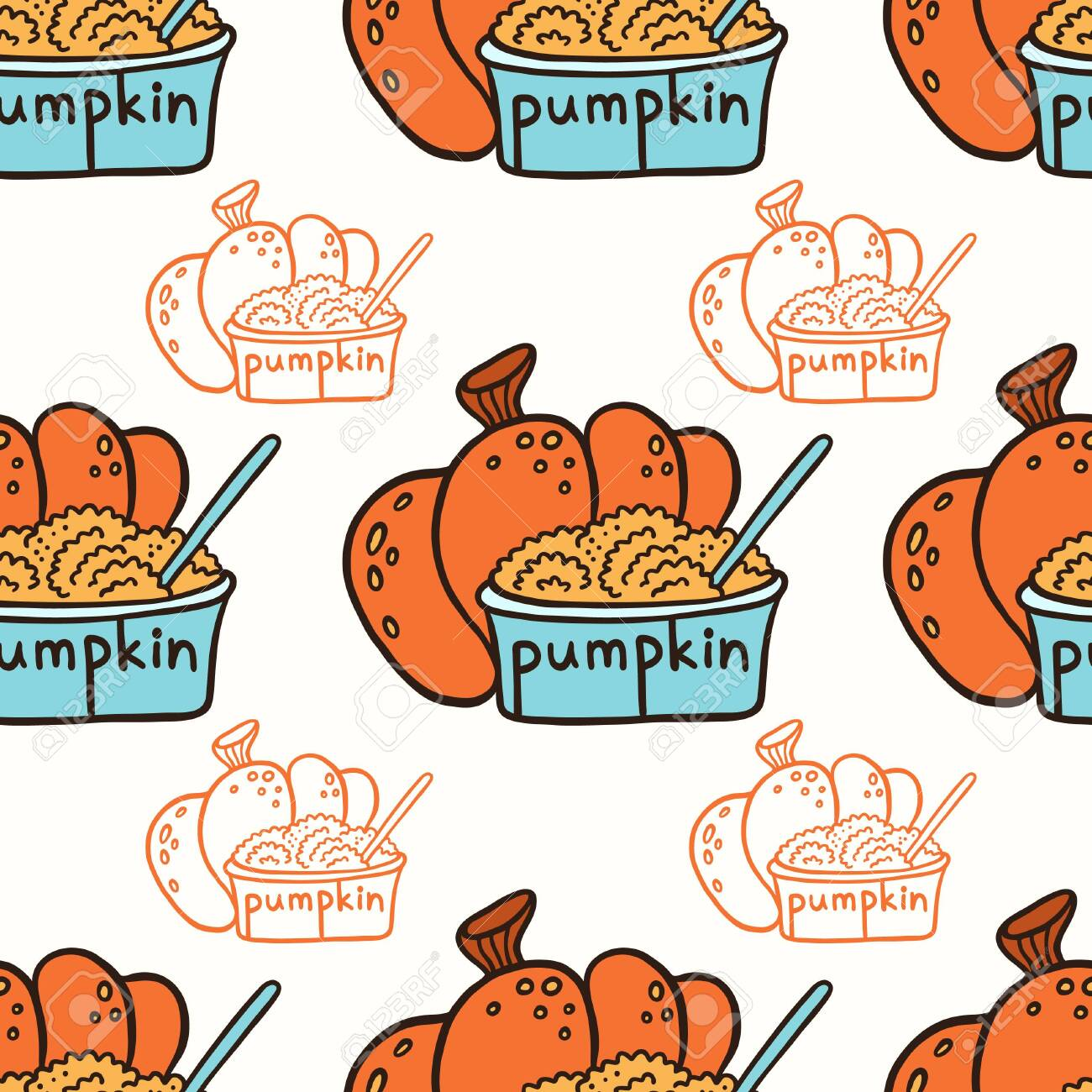 Pumpkin and pumpkin puree in a glass bowl. Doodle vector seamless pattern. - 123975651