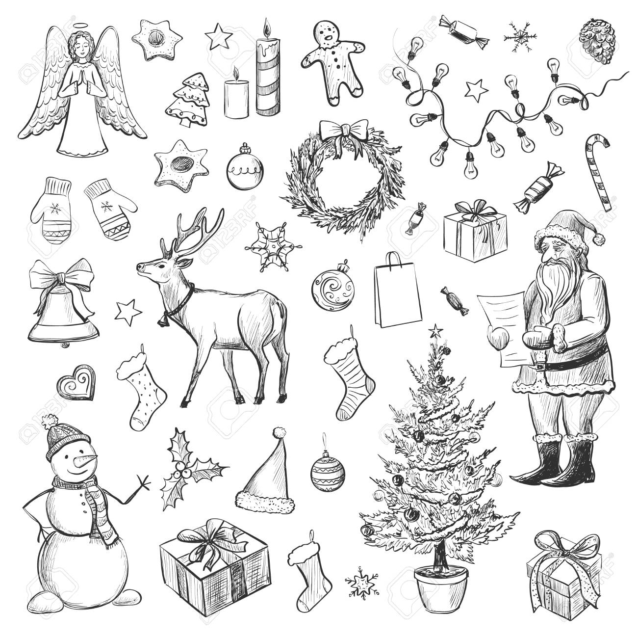 A set of sketches on the theme of christmas christmas tree santa claus