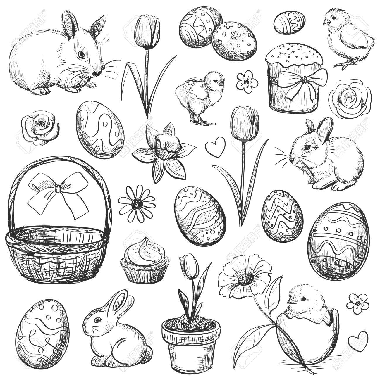 Sketches on the theme of easter traditional symbols and decorative elements isolated pictures on