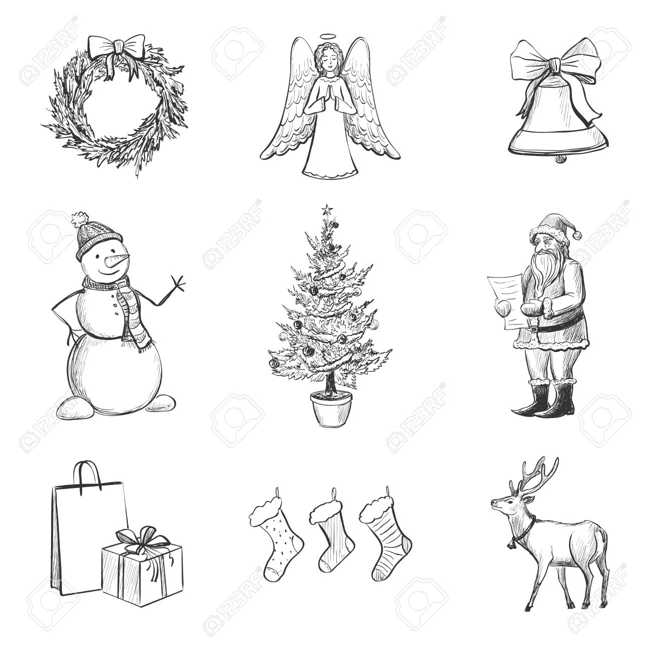 Christmas Sketches.A Vector Set Of Nine Christmas Sketches Characters Symbols