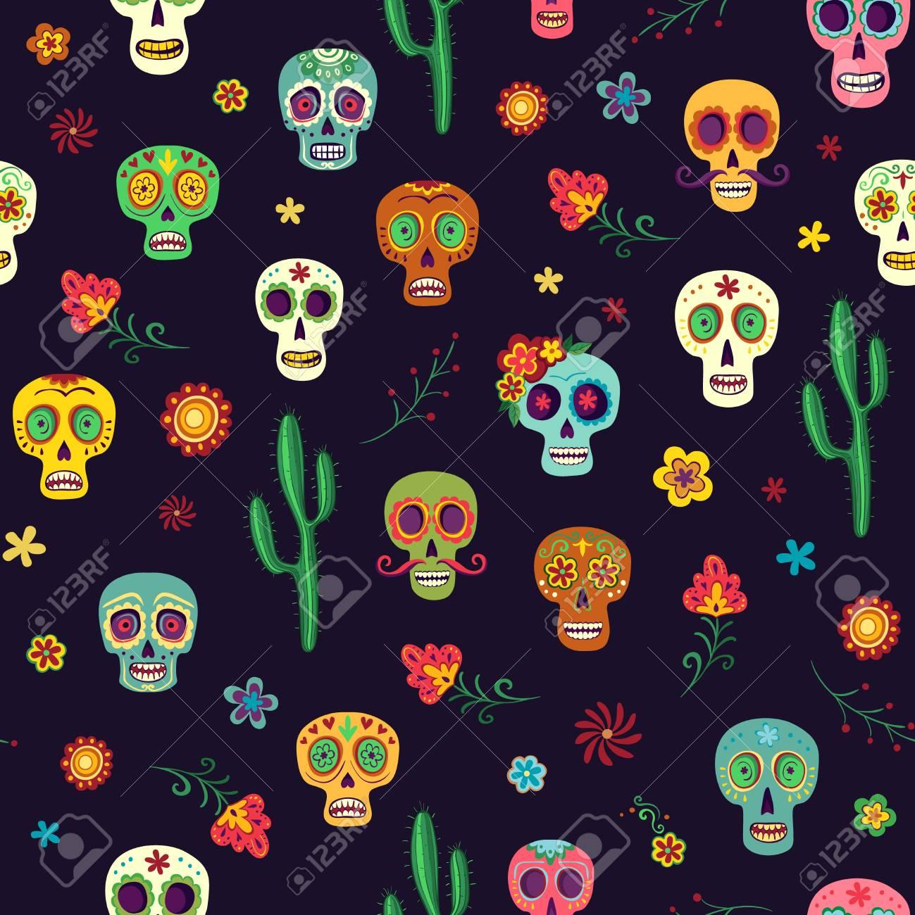 Vector Pattern Mexican Sugar Skulls On A Dark Background