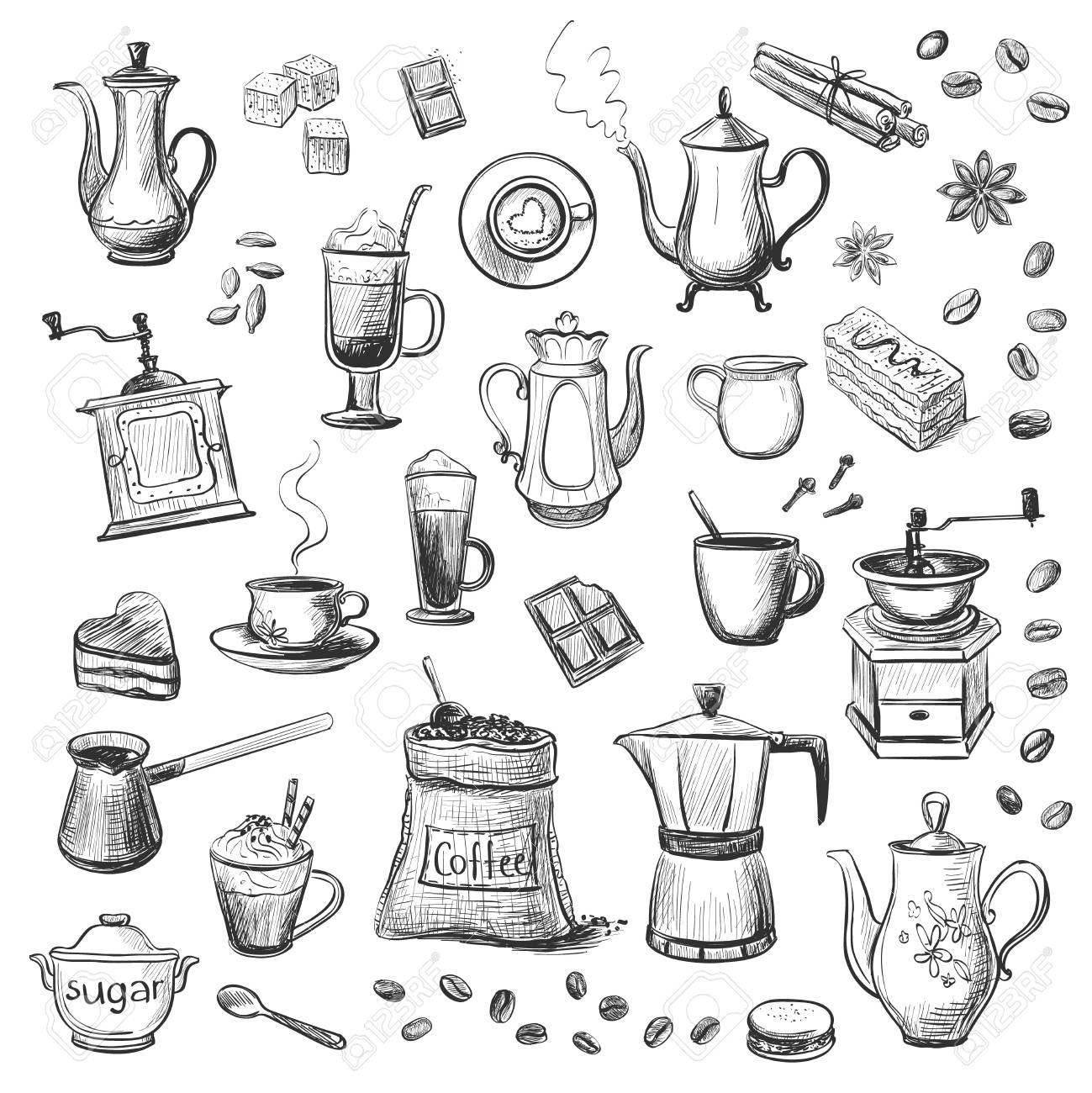 A collection of sketches on the theme of coffee hand drawn stock vector 88195979