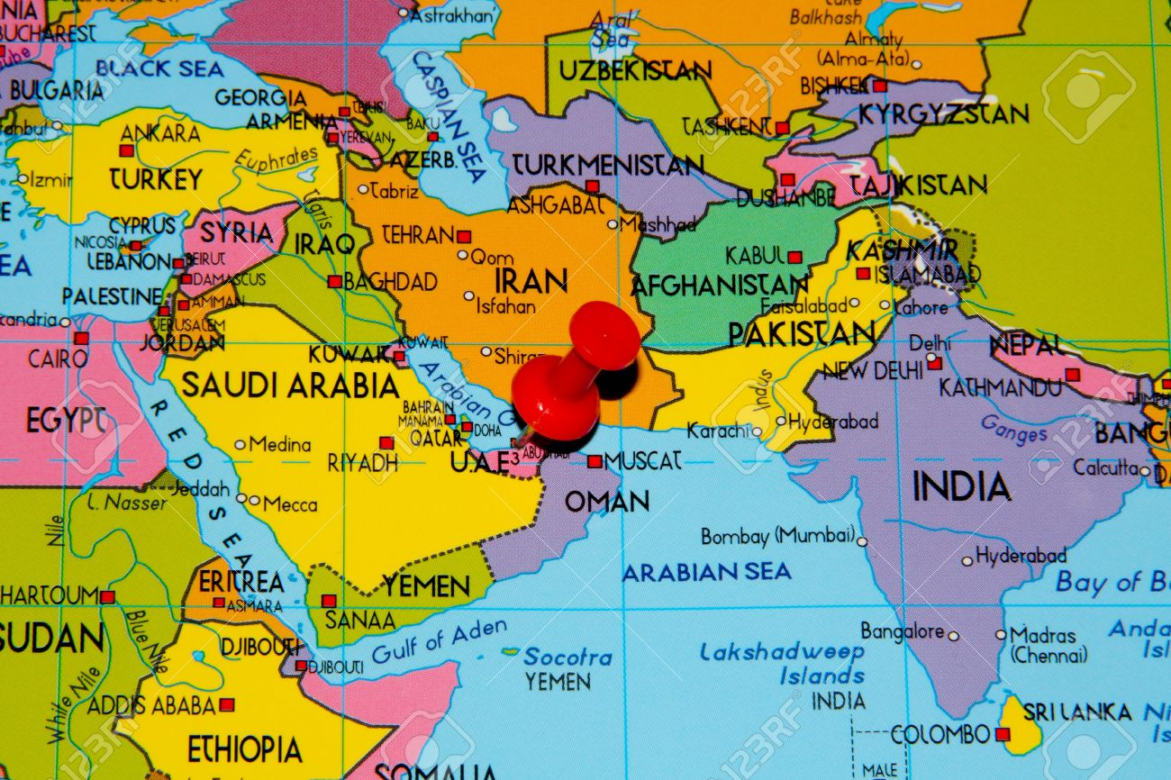 Colourful Map Over Middle East With Abu Dhabi Pinned Stock Photo