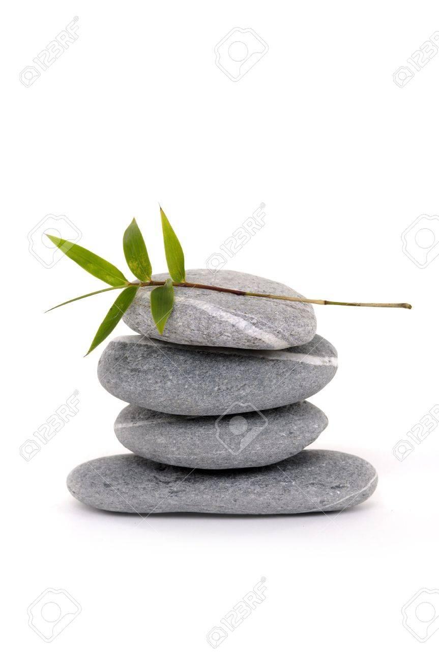 Zen stone balancing with bamboo Stock Photo - 6057968