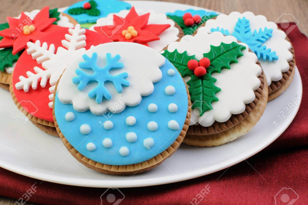 Cookies Decorated With Marzipan On The Christmas Theme