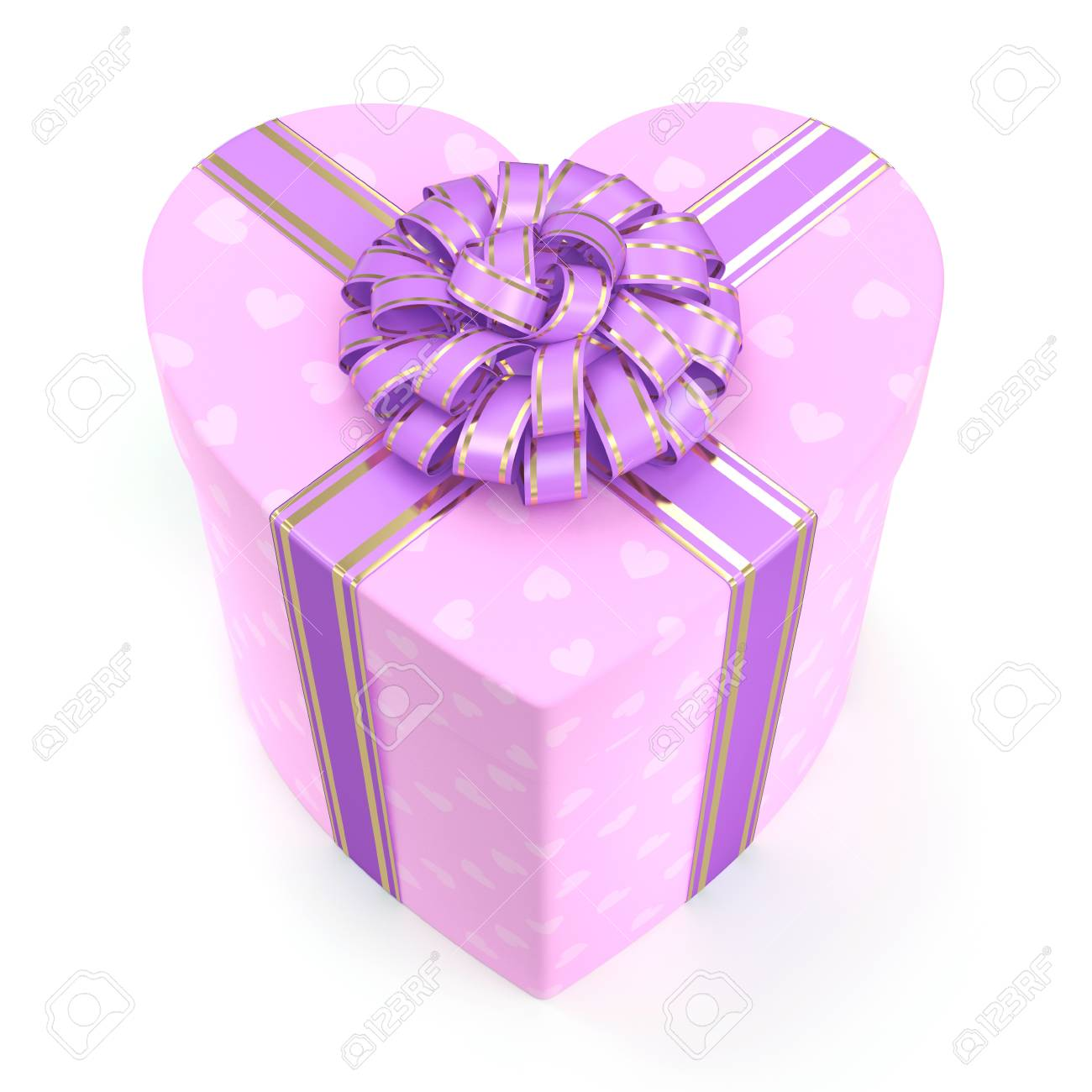 Pink Heart Shaped Box With Purple Ribbon Stock Photo, Picture And ...