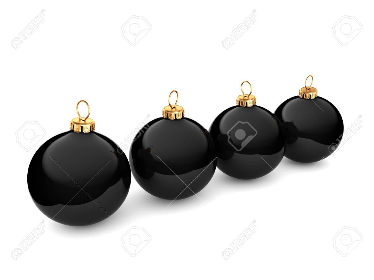 Boule De Noël Noire Brillante Sur Fond Blanc Banque D'Images Et